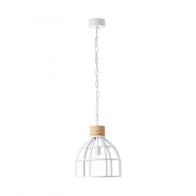 Brilliant Matrix Wood - hanglamp - Ø 34 x 139 cm - wit