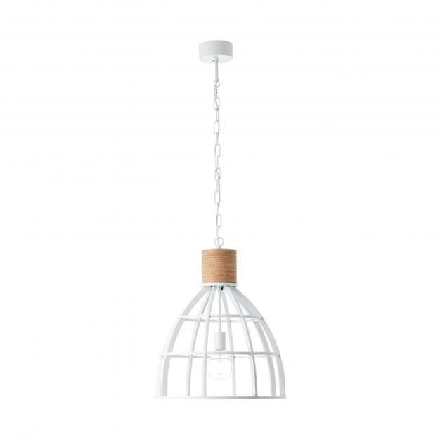 Brilliant Matrix Wood - hanglamp - Ø 47 x 142 cm - wit