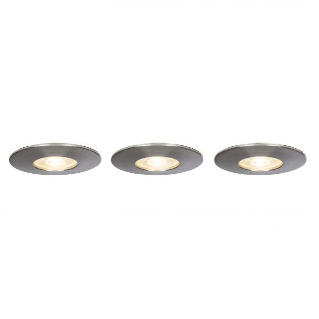 Brilliant Nodus - set van 3 - Ø 82 mm, Ø 68 mm inbouwmaat - 4W LED incl. - IP44 - satijn chroom