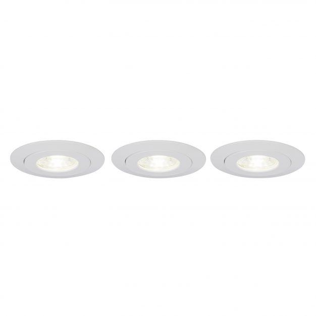 Brilliant Nodus - set van 3 - Ø 88 mm, Ø 74 mm inbouwmaat - 4W LED incl. - IP44 - wit - witte lichtkleur (einde reeks)