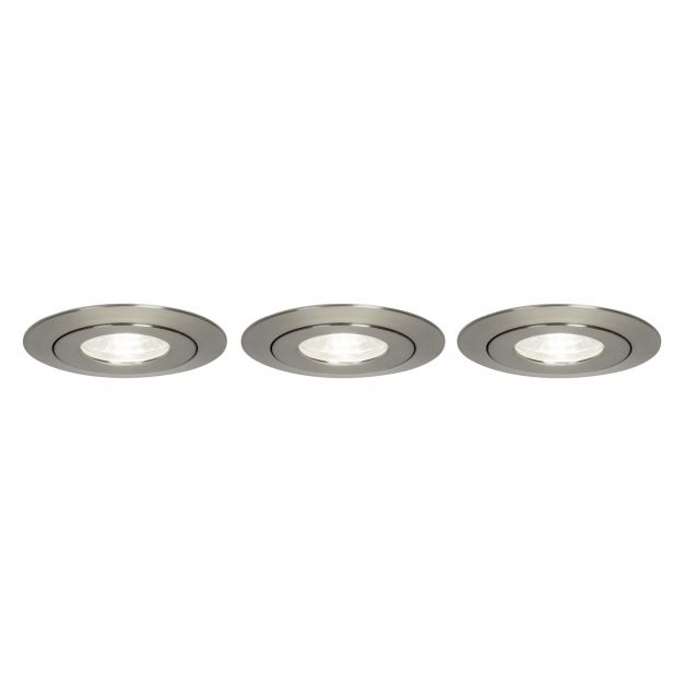 Brilliant Nodus - set van 3 - Ø 88 mm, Ø 74 mm inbouwmaat - 4W LED incl. - IP44 - satijn chroom