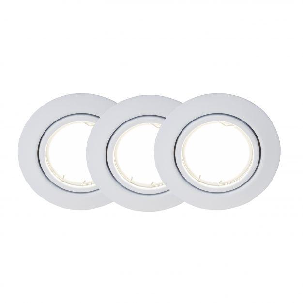 Brilliant Honor - set van 3 - Ø 90 mm, Ø 70 mm inbouwmaat - 5W easydim LED incl. - wit