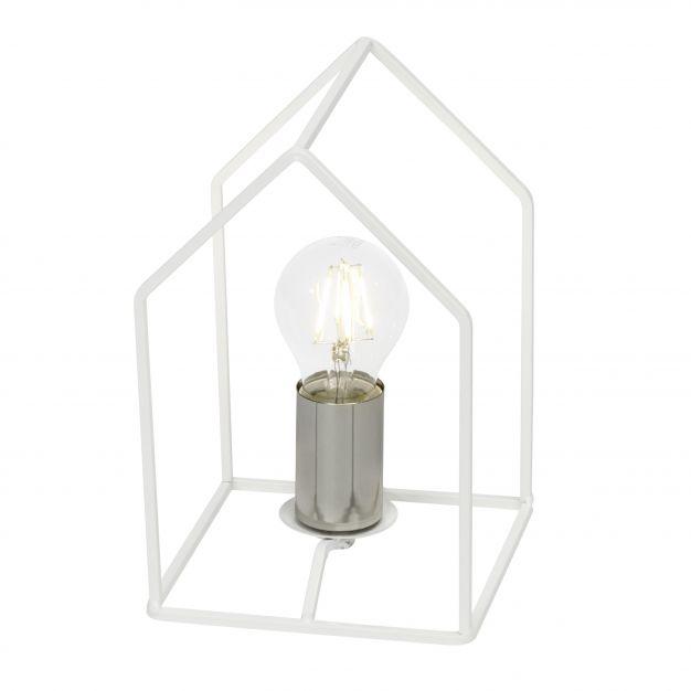 Brilliant Home - tafellamp - 23 cm - satijn chroom / wit