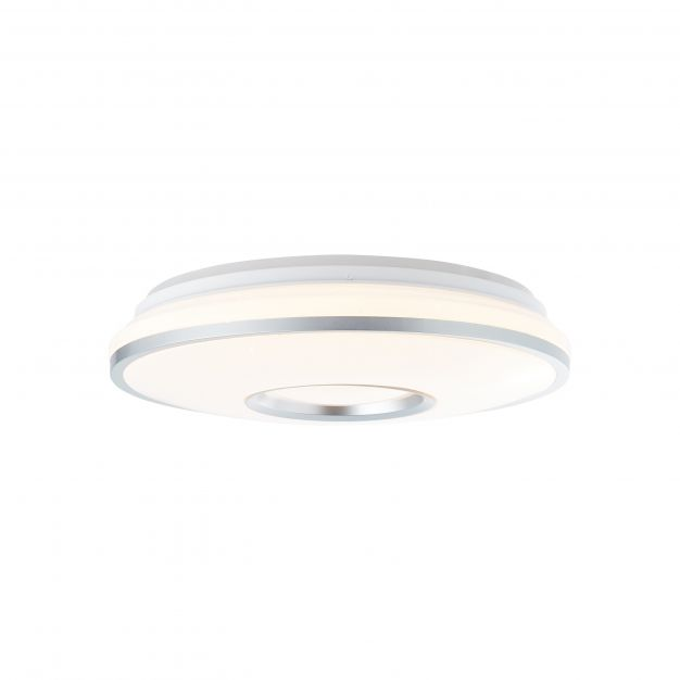 Brilliant Visitation - plafondverlichting RGB met afstandsbediening - Ø 39 x 10,3 cm - 24W dimbare LED incl. - wit en zilver