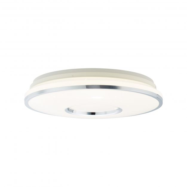 Brilliant Visitation - plafondverlichting RGB met afstandsbediening - Ø 48,5 x 12 cm - 32W dimbare LED incl. - wit en zilver