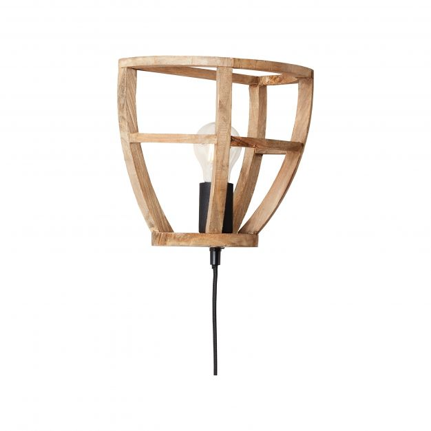 Brilliant Matrix Wood - wandverlichting met snoerschakelaar - 24,5 x 16,5 x 22,5 cm - antiek hout
