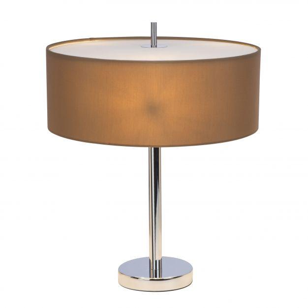 Brilliant Andria - tafellamp - 51 cm - chroom / lichtbruin