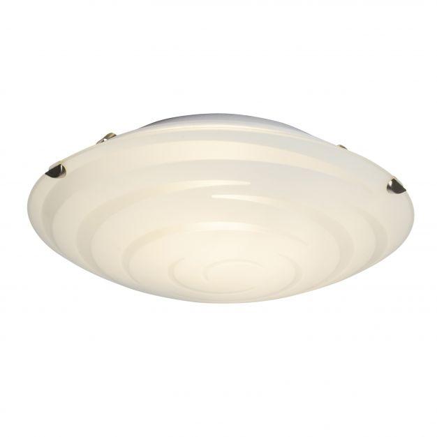 Brilliant Melania - wand / plafondverlichting - Ø 25 x 7 cm - 9W LED incl. - mat glas met spiraalpatroon