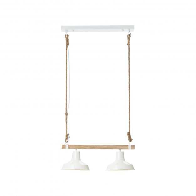 Brilliant Hank - hanglamp - 58 x 23,5 x 111 cm - wit hoogglans