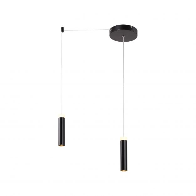 Brilliant Limas - hanglamp - 200 x 200 x 200 cm - 3 stappen dimmer - 2 x 9W LED incl. - zwart
