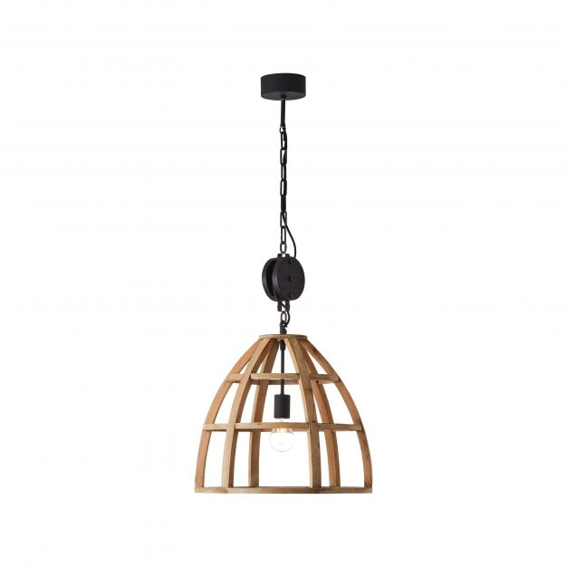 Brilliant Matrix Wood - hanglamp - Ø 47 x 162 cm - antiek hout