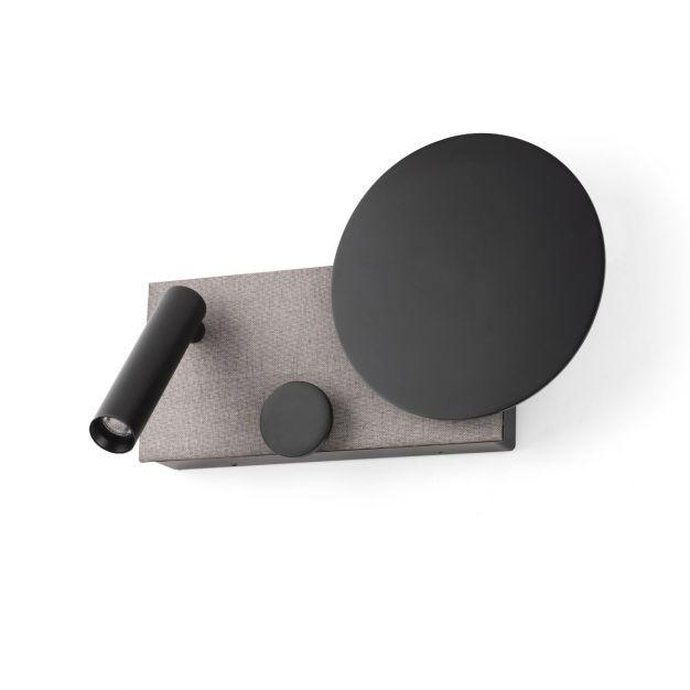 Faro Klee - wandverlichting met leeslampje - 27 x 16 x 3 cm - 10W dimbare LED incl. - zwart & grijs