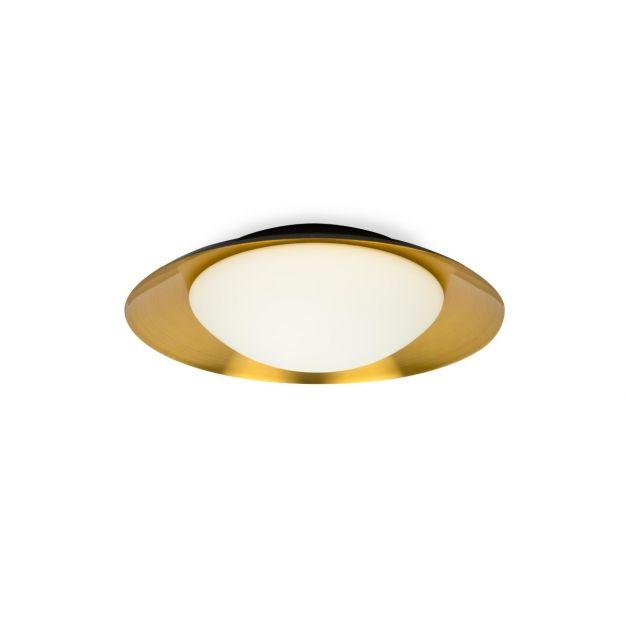 Faro Side - plafond/wandverlichting - Ø 39 x 11 x 21 cm - 15W LED incl. - zwart & koper