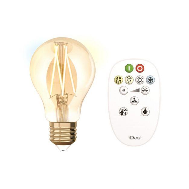iDual LED-lamp met afstandsbediening - Ø 6 x 10,8 cm - E27 - 9W dimbaar - 2200K tot 5500K - amber