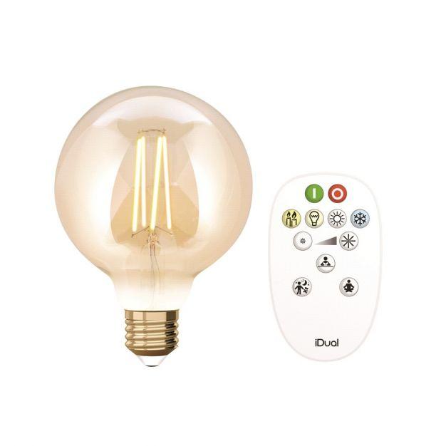 iDual LED-lamp met afstandsbediening - Ø 9,5 x 14 cm - E27 - 9W dimbaar - 2200K tot 5500K - amber