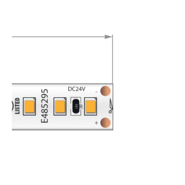 KLUS LED strip - 0,8cm breed, 500cm lengte - 24Vdc - dimbaar - 9,6W LED per meter - IP20 - 2700K