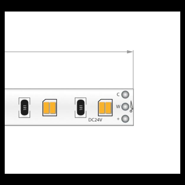 KLUS LED strip - 0,8cm breed, 500cm lengte - 24Vdc - dimbaar - 19,2W LED per meter - IP20 - 2700-6500K