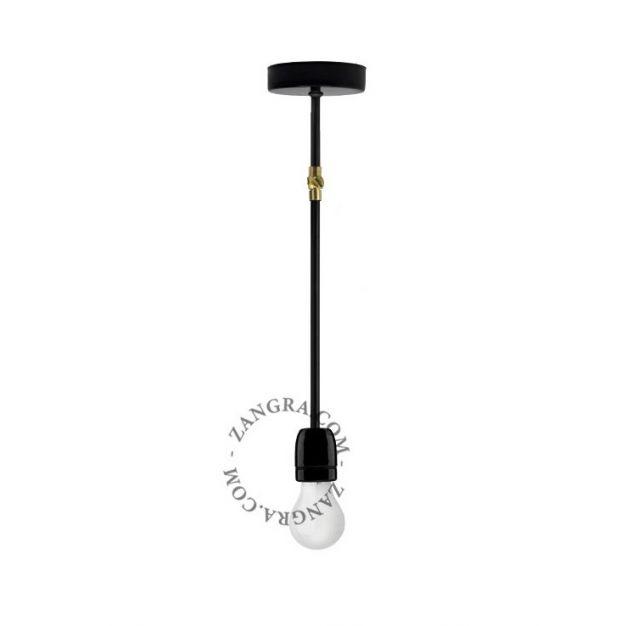 Zangra Porselein - wandlamp & hanglamp - 43 cm - zwart en messing