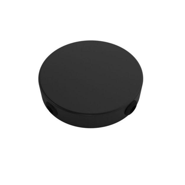 Creative Cables - cilindrische metalen rozet met 4 zijgaten - Ø 8,3 cm - zwart