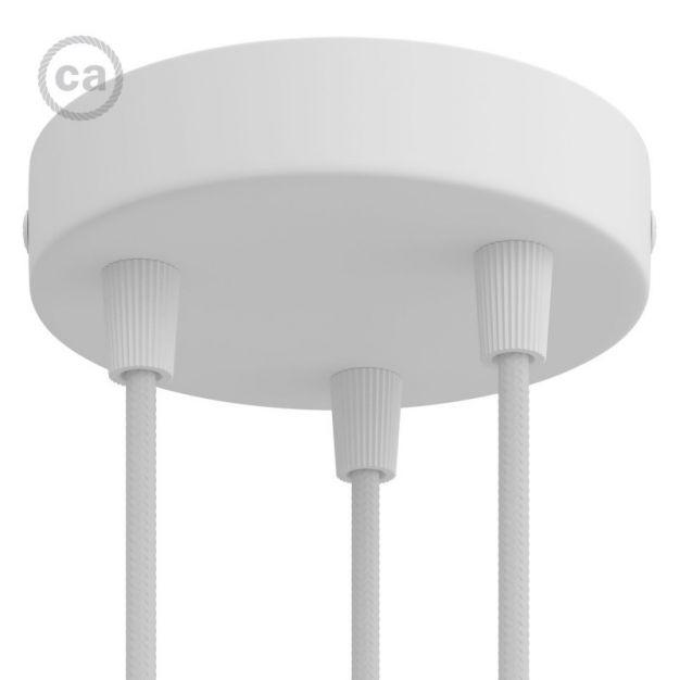 Creative Cables - strak design 3-gaats cilindrische metalen plafondkap - Ø 120 mm - wit