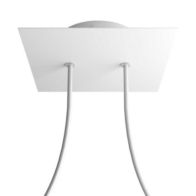 Creative Cables - Rose-One Vierkant plafondrozet voor 2 lichtpunten - Ø 20 x 3,5 cm - wit