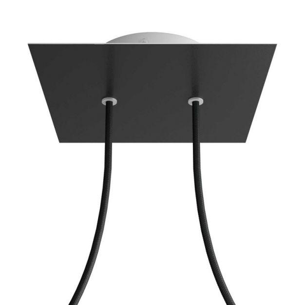 Creative Cables - Rose-One Vierkant plafondrozet voor 2 lichtpunten - Ø 20 x 3,5 cm - zwart