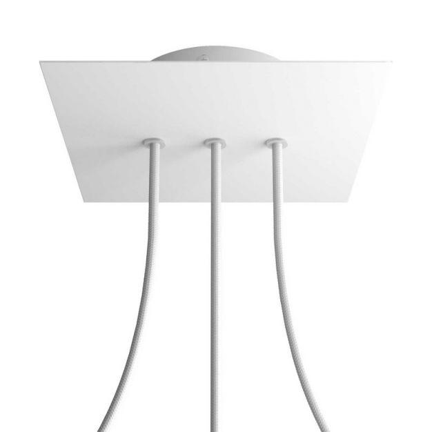 Creative Cables - Rose-One Vierkant plafondrozet voor 3 lichtpunten op lijn - Ø 20 x 3,5 cm - wit