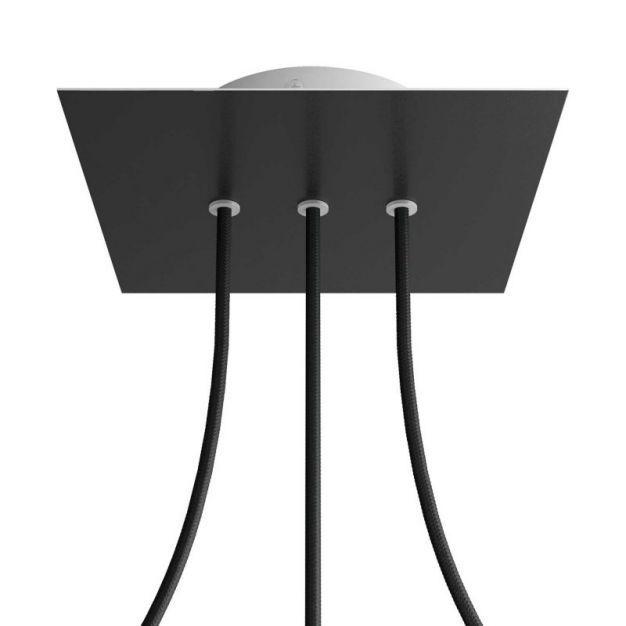 Creative Cables - Rose-One Vierkant plafondrozet voor 3 lichtpunten op lijn - Ø 20 x 3,5 cm - zwart
