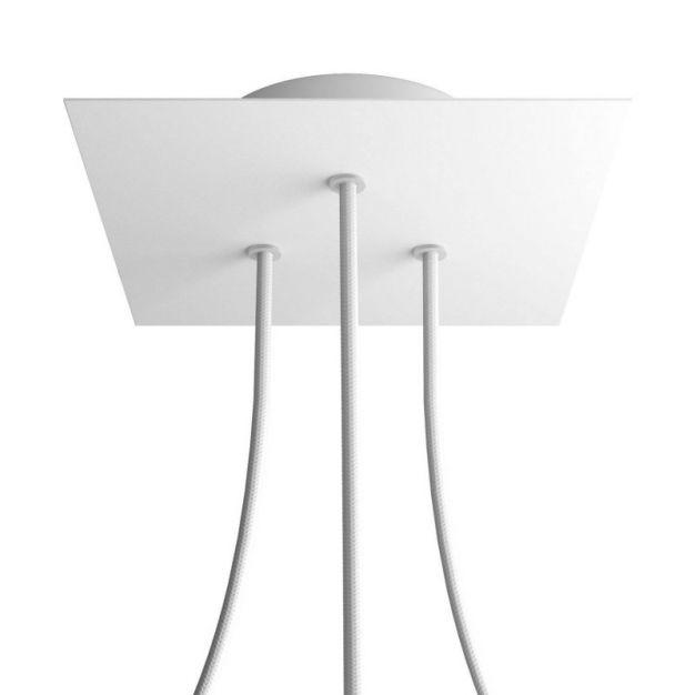 Creative Cables - Rose-One Vierkant plafondrozet voor 3 lichtpunten in driehoek - Ø 20 x 3,5 cm - wit