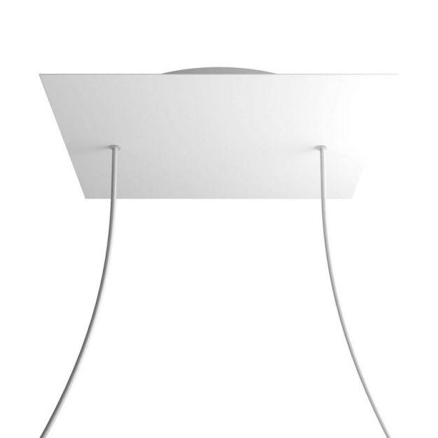 Creative Cables - Rose-One Vierkant plafondrozet voor 2 lichtpunten - Ø 40 x 3,5 cm - wit