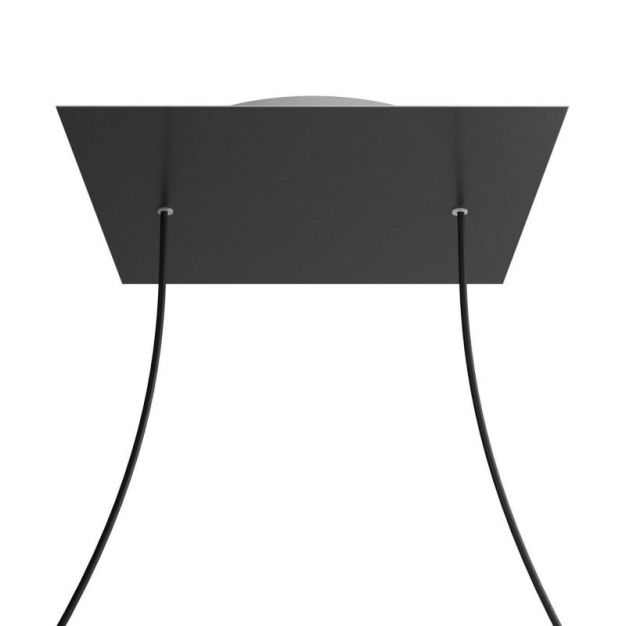 Creative Cables - Rose-One Vierkant plafondrozet voor 2 lichtpunten - Ø 40 x 3,5 cm - zwart