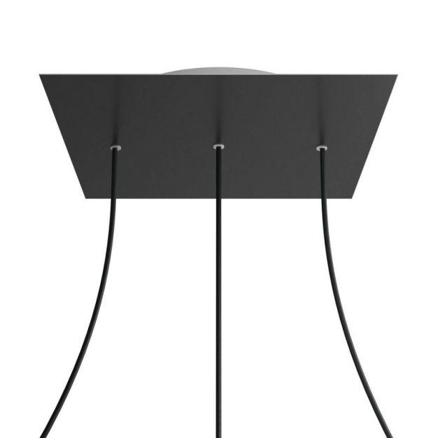 Creative Cables - Rose-One Vierkant plafondrozet voor 3 lichtpunten op lijn - Ø 40 x 3,5 cm - zwart