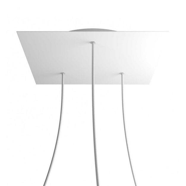 Creative Cables - Rose-One Vierkant plafondrozet voor 3 lichtpunten in driehoek - Ø 40 x 3,5 cm - wit