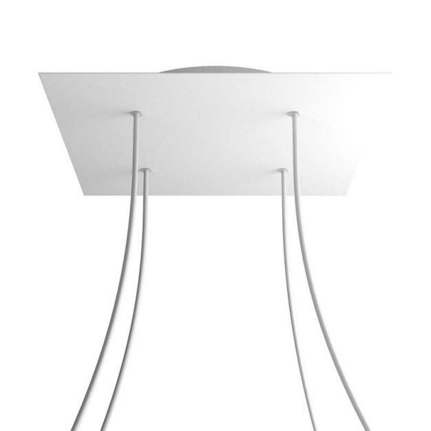 Creative Cables - Rose-One Vierkant plafondrozet voor 4 lichtpunten - Ø 40 x 3,5 cm - wit