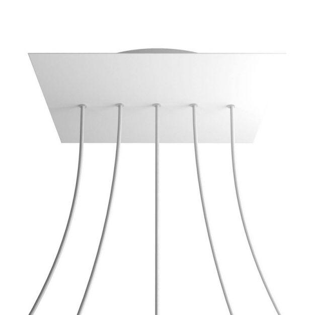 Creative Cables - Rose-One Vierkant plafondrozet voor 5 lichtpunten op lijn - Ø 40 x 3,5 cm - wit