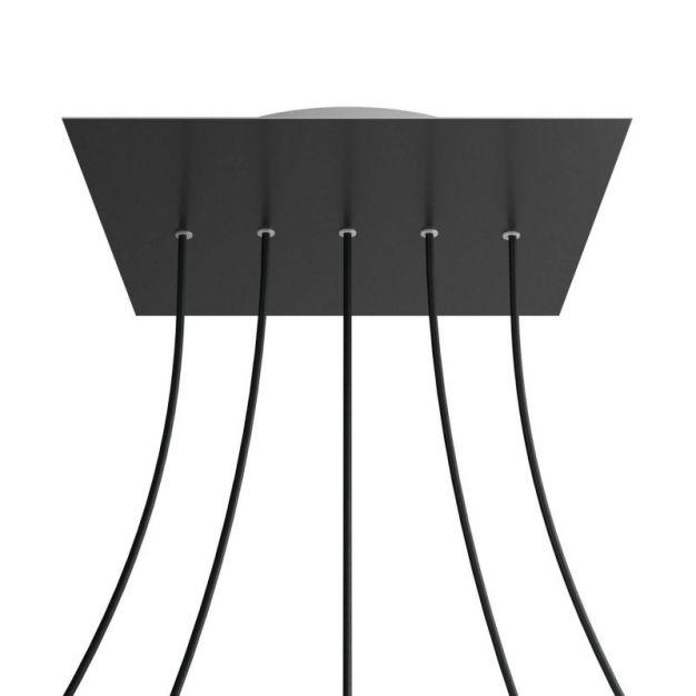 Creative Cables - Rose-One Vierkant plafondrozet voor 5 lichtpunten op lijn - Ø 40 x 3,5 cm - zwart