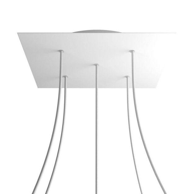 Creative Cables - Rose-One Vierkant plafondrozet voor 5 lichtpunten - Ø 40 x 3,5 cm - wit
