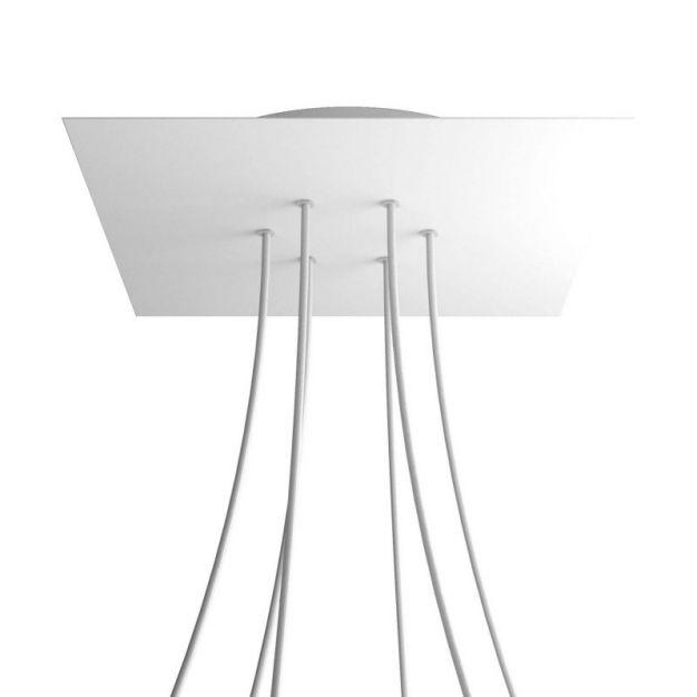 Creative Cables - Rose-One Vierkant plafondrozet voor 6 lichtpunten - Ø 40 x 3,5 cm - wit