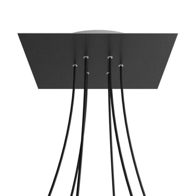 Creative Cables - Rose-One Vierkant plafondrozet voor 6 lichtpunten - Ø 40 x 3,5 cm - zwart