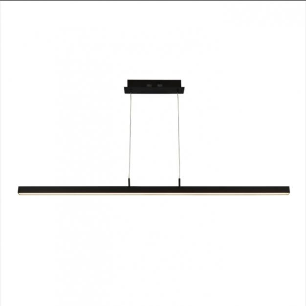 Searchlight Tribeca - hanglamp - 118,5 x 3 x 120 cm - 16,5W  LED incl. - 2700K tot 4000K - mat zwart