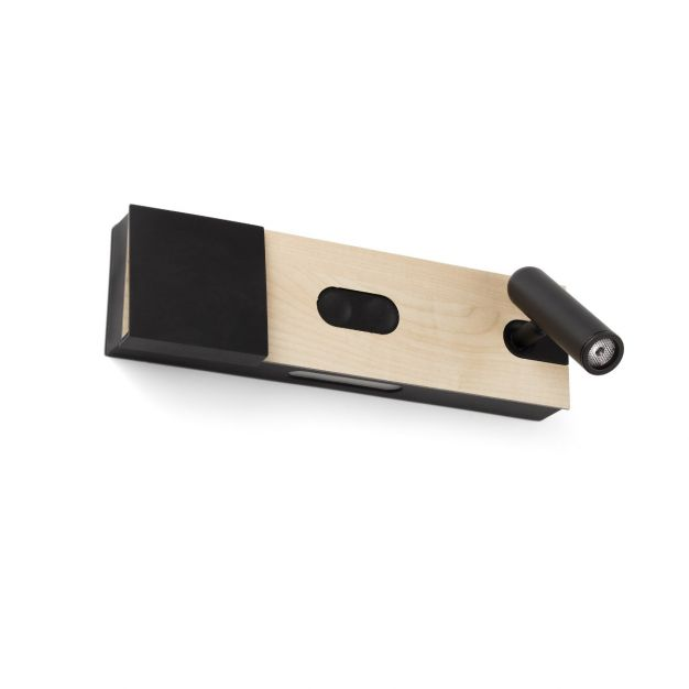 Faro Magos Maple - wandverlichting met draadloze oplader - 30 x 15 x 8 cm - zwart & hout