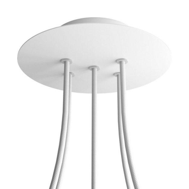 Creative Cables - Rose-One Rond plafondrozet voor 5 lichtpunten  - Ø 20 x 3,5 cm - wit
