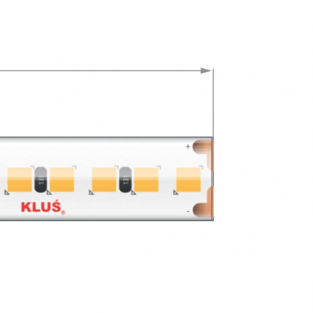 KLUS LED strip - 1cm breed, 500cm lengte - 24Vdc - dimbaar - 9,1W LED per meter - IP65 - 2700K