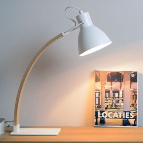 Lucide Curf - bureaulamp - 54 cm - wit, hout