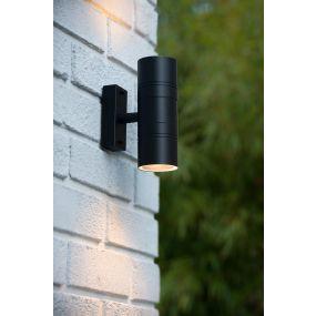 Lucide Arne 2 - buiten wandlamp - 6,3 x 12 x 17 cm - 5W LED incl. - IP44 - zwart