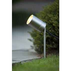 Lucide Arne - grondspot op piek - 6,3 x 6,3 x 36 cm - 5W LED incl. - IP44 - satijn chroom