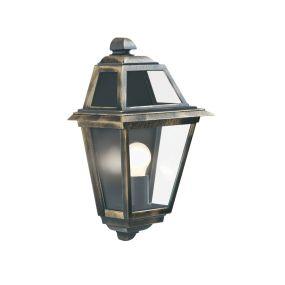 Searchlight New Orleans - buiten wandverlichting - 25 x 39,2 cm - IP44 - zwart en goud