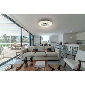 ONE Light Plafo Ceiling Fan - plafondverlichting met ventilator en afstandsbediening- Ø 60 x 15 cm - 30W LED incl. - 35W fan - wit