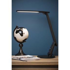 Lucide Practico - bureaulamp met USB-poort - 47,5 cm - 10W dimbare LED incl. - zwart