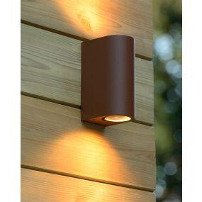 Lucide Boogy - buiten wandverlichting - 6,8 x 9,3 x 15 cm - IP44 - roestig